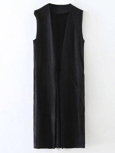 Longline Side Slit Suede Waistcoat - BLACK M Mobile