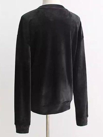 Oversized Velvet Sweatshirt - BLACK ONE SIZE Mobile