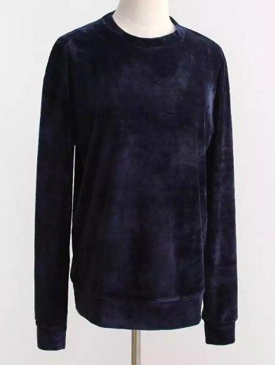 Oversized Velvet Sweatshirt - PURPLISH BLUE ONE SIZE Mobile