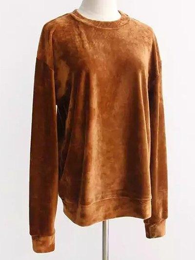Oversized Velvet Sweatshirt - EARTHY ONE SIZE Mobile