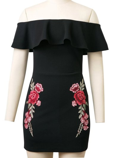 Flounced Rose Embroidered Bodycon Dress - BLACK S Mobile