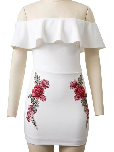Flounced Rose Embroidered Bodycon Dress - WHITE S Mobile