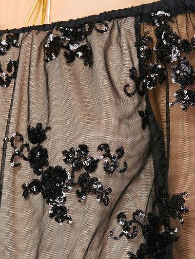 Off Shoulder Sequins Long Sleeve Romper - BLACK S Mobile