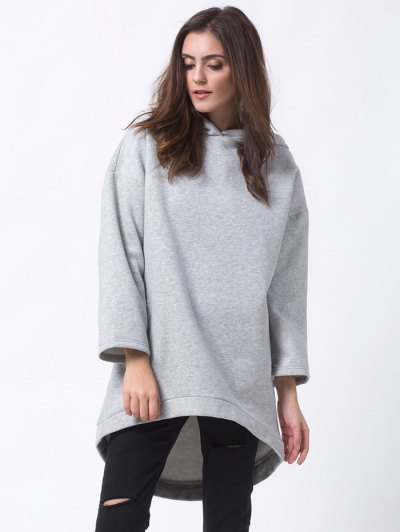 Pullover High Low Hoodie - LIGHT GRAY XL Mobile