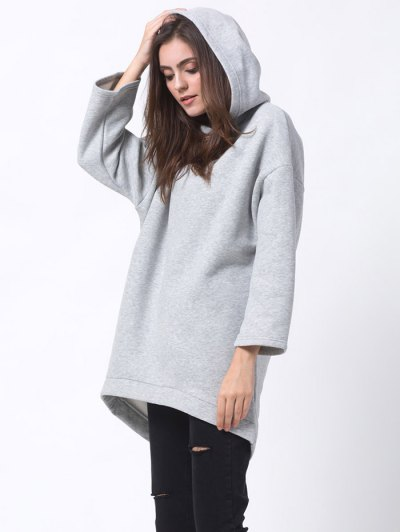 Pullover High Low Hoodie - LIGHT GRAY S Mobile