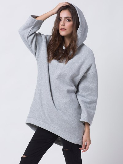 Pullover High Low Hoodie - LIGHT GRAY XS Mobile