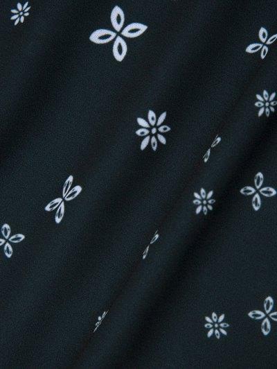 V Neck Tiny Floral Smock Blouse - BLACK 2XL Mobile