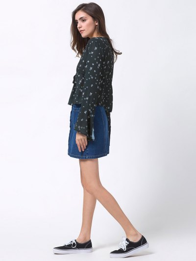 V Neck Tiny Floral Smock Blouse - BLACK L Mobile