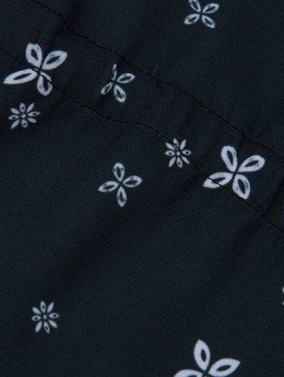 V Neck Tiny Floral Smock Blouse - BLACK S Mobile