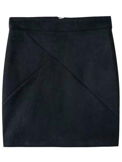 Fake Suede Mini Skirt - BLACK L Mobile