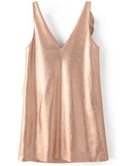 V Neck Ruffles Mini Tank Dress - ROSE GOLD L Mobile