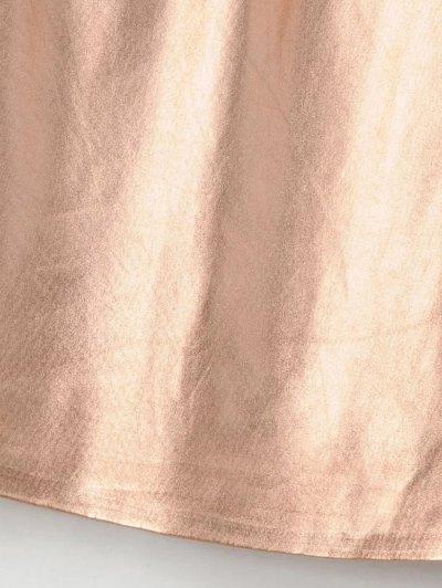 V Neck Ruffles Mini Tank Dress - ROSE GOLD S Mobile