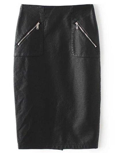 PU Leather Pencil Skirt - BLACK L Mobile