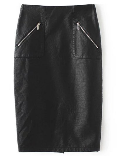 PU Leather Pencil Skirt - BLACK M Mobile