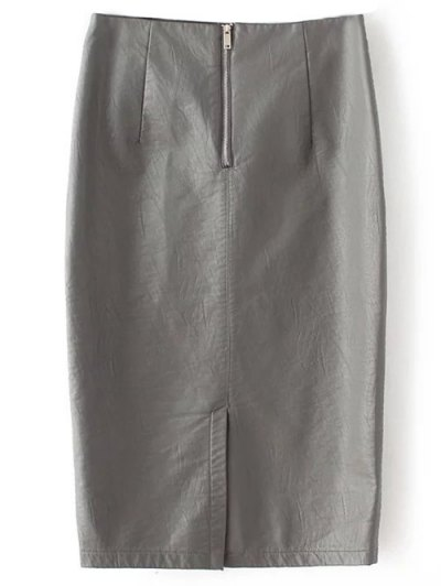 PU Leather Pencil Skirt - GRAY S Mobile