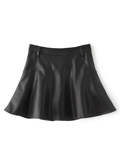 A Line PU Leather Mini Culotte Skirt - BLACK L Mobile