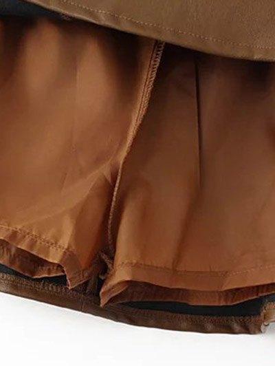 A Line PU Leather Mini Culotte Skirt - GRAY L Mobile