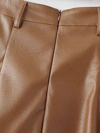 A Line PU Leather Mini Culotte Skirt - BROWN L Mobile