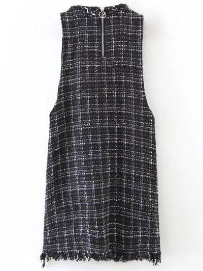 Rivet Sleeveless Frayed Hem Plaid Mini Dress - BLACK L Mobile