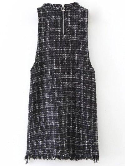 Rivet Sleeveless Frayed Hem Plaid Mini Dress - BLACK L Mobile