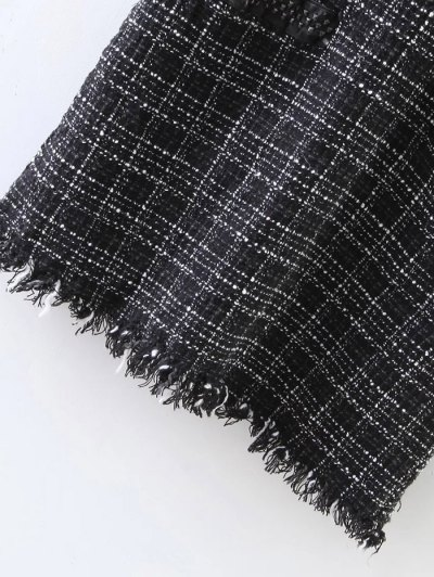 Rivet Sleeveless Frayed Hem Plaid Mini Dress - BLACK M Mobile