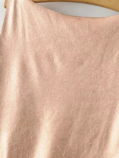 V Neck Flounced Tank Top - ROSE GOLD S Mobile