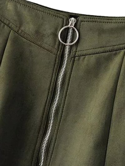 Suede Zippered Mini Skirt - BLACKISH GREEN L Mobile