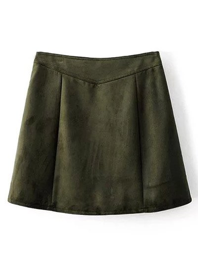 Suede Zippered Mini Skirt - BLACKISH GREEN M Mobile