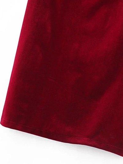 One Shoulder Velvet Ruffle Pencil Dress - WINE RED L Mobile
