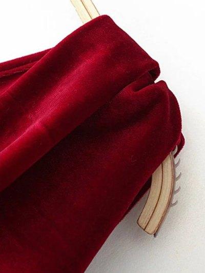 One Shoulder Velvet Ruffle Pencil Dress - WINE RED S Mobile