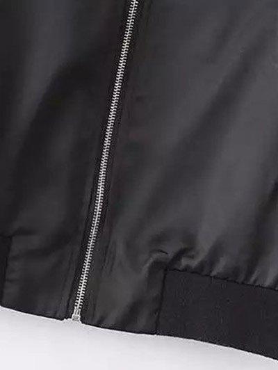 Rose Embroidered Bomber Coat - BLACK L Mobile