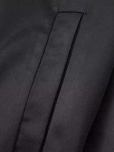 Rose Embroidered Bomber Coat - BLACK M Mobile