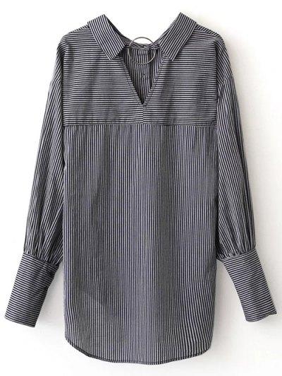 V Back Button Up Striped Shirt - STRIPE S Mobile