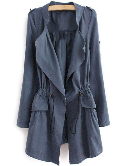 Epaulet  Drawstring Anorak Coat - BLUE GRAY L Mobile