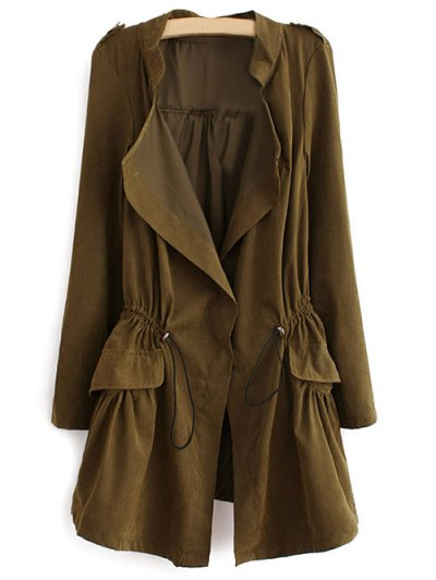 Epaulet  Drawstring Anorak Coat - ARMY GREEN XL Mobile