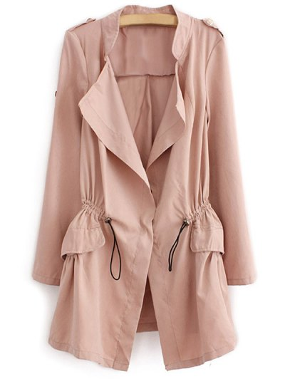 Epaulet  Drawstring Anorak Coat - PALE PINKISH GREY L Mobile