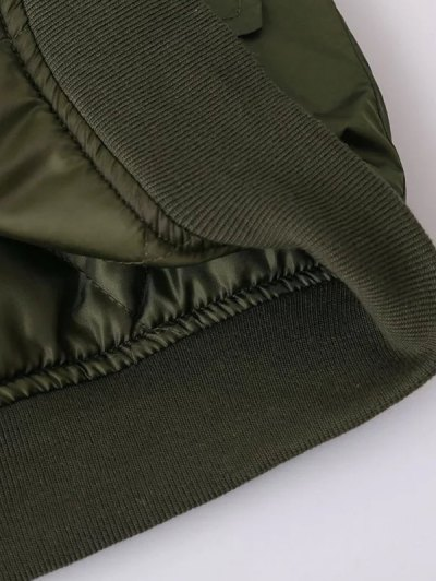 Fur Collar Padded Cargo Bomber Jacket - ARMY GREEN M Mobile