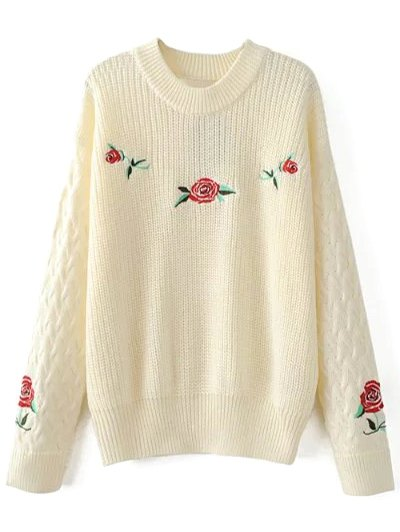 Cable Knit Floral Embroidered Jumper - OFF-WHITE L Mobile