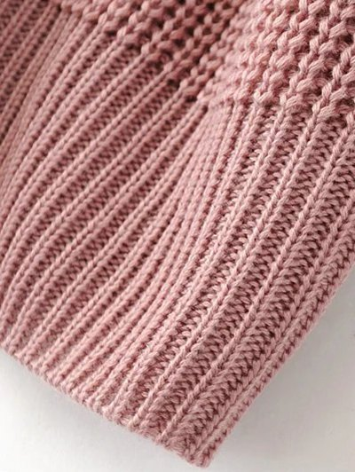 Cable Knit Floral Embroidered Jumper - PINK M Mobile