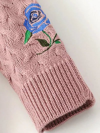 Cable Knit Floral Embroidered Jumper - BLACK L Mobile