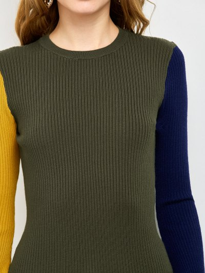 Contrast Bell Sleeve Ribbed Sweater - ARMY GREEN ONE SIZE Mobile