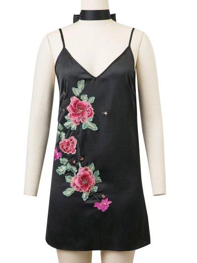 Cami Rose Embroidered A-Line Dress - BLACK M Mobile