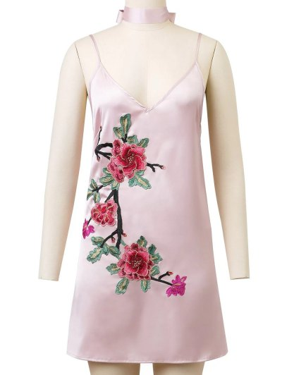 Cami Rose Embroidered A-Line Dress - PINK L Mobile