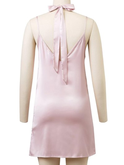 Cami Rose Embroidered A-Line Dress - PINK S Mobile