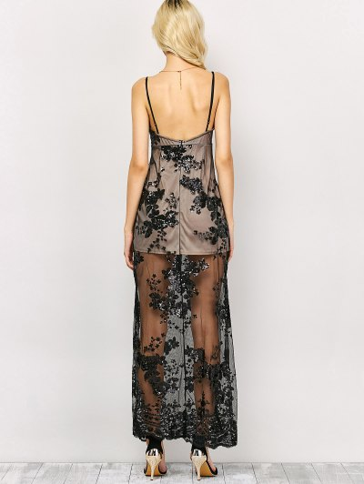 Plunge Neck High Slit Sequins Maxi Dress - BLACK XL Mobile