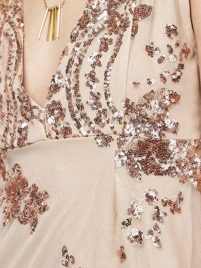 Plunge Neck High Slit Sequins Maxi Dress - APRICOT M Mobile