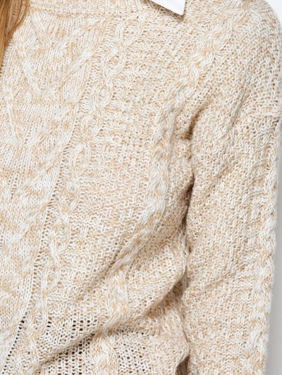 Heather Cable Knit Sweater - KHAKI ONE SIZE Mobile