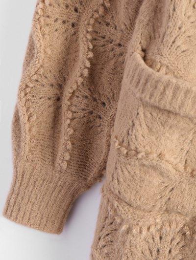 Longline Sequins Open Knit Cardigan - KHAKI ONE SIZE Mobile