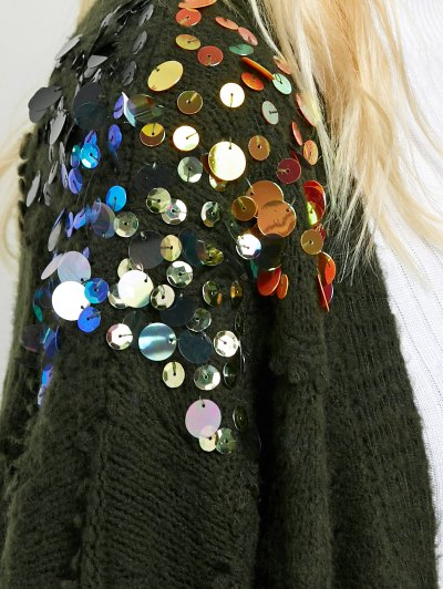 Longline Sequins Open Knit Cardigan - ARMY GREEN ONE SIZE Mobile