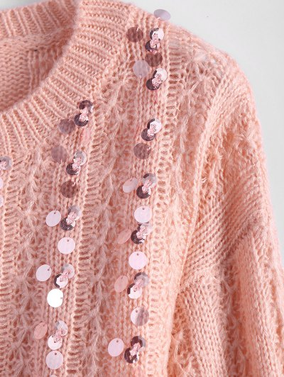 Crew Neck Sequins Sweater - PINK ONE SIZE Mobile